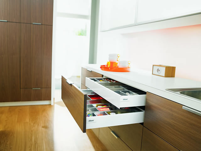 Blum Intivo glass sink drawer with internal cutlery drawer