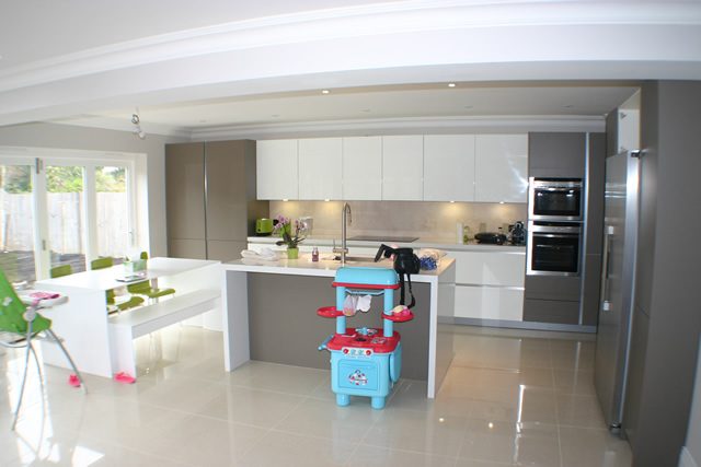 Aluminium UChannel Kitchens Blok Designs Ltd - Grey and white gloss kitchen