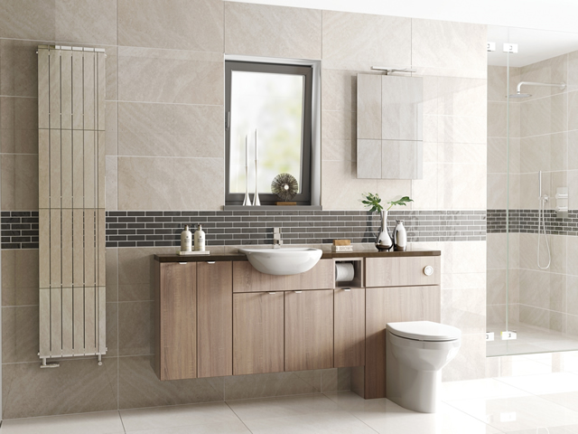 Fitted Bathroom - Tempo Bardalino Oak on Kashmir