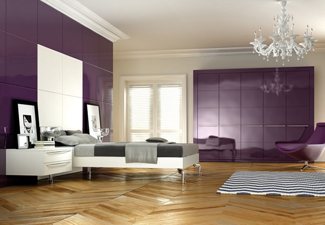 Linea Aubergine Gloss Fitted Bedroom