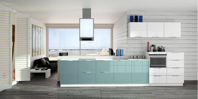 Futura gloss lacquer blue grey with a polished steel cap handle