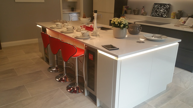Kitchen Island Units Featuring LED lighting