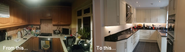Before and after pictures of kitchen install in Redhill Surrey