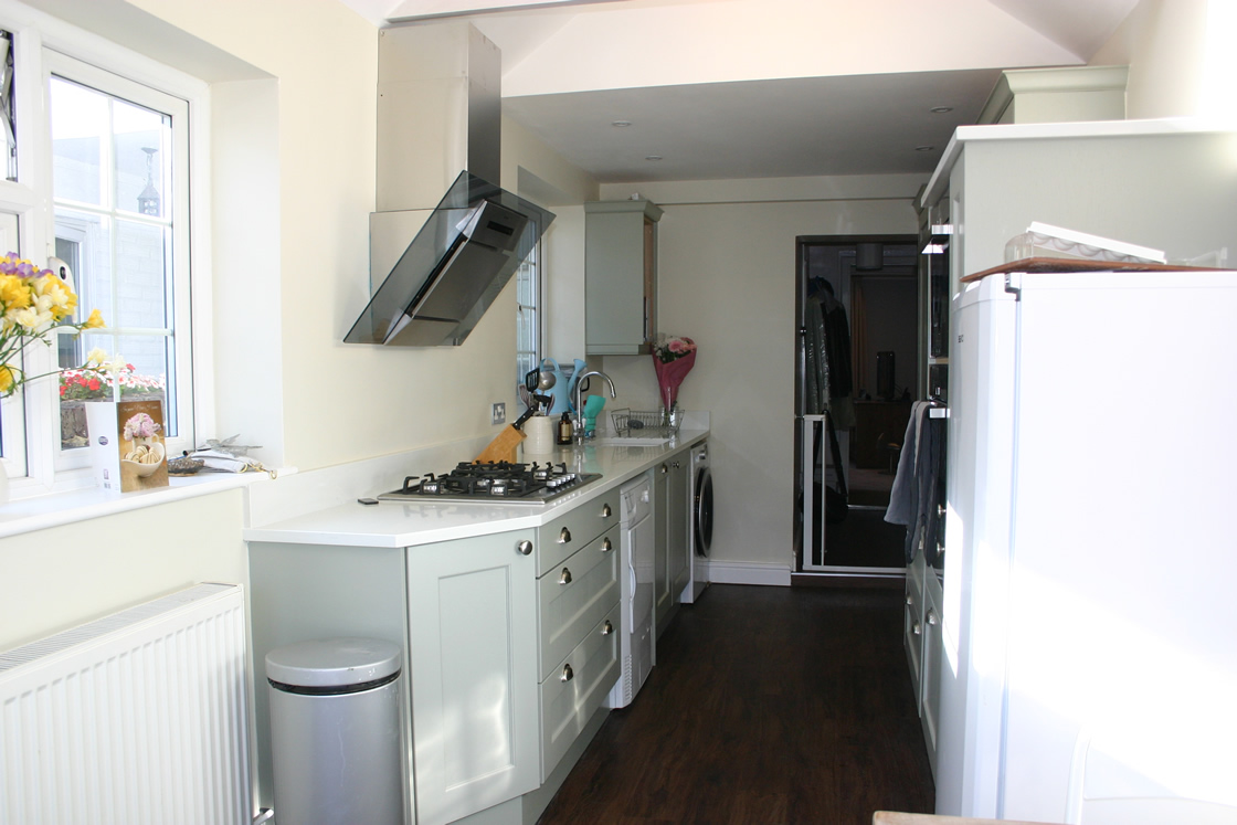 Large New kitchen showing extractor fan
