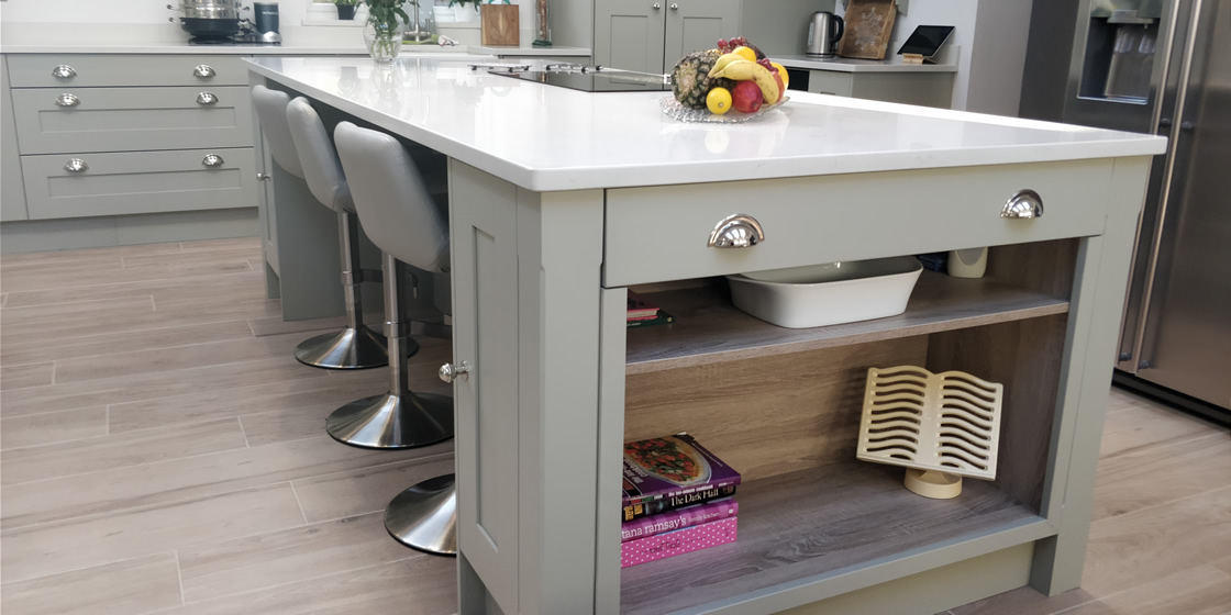 Large Bespoke Kitchen Island with Quartz Worktop in Crawley