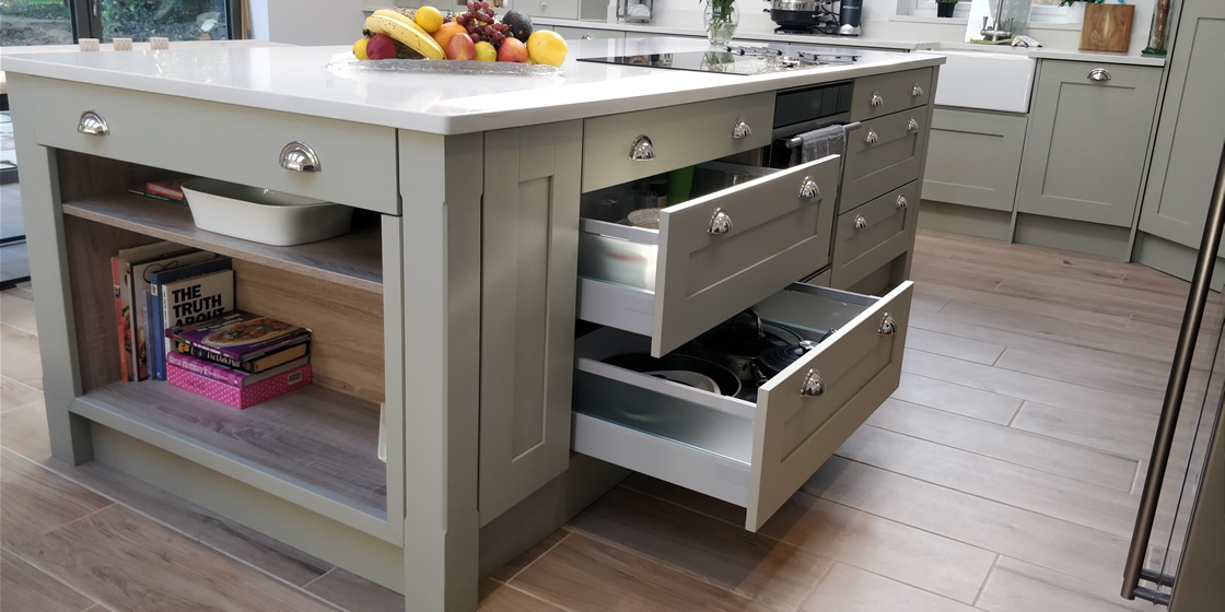 Large Crawley Bespoke Kitchen Island Drawers