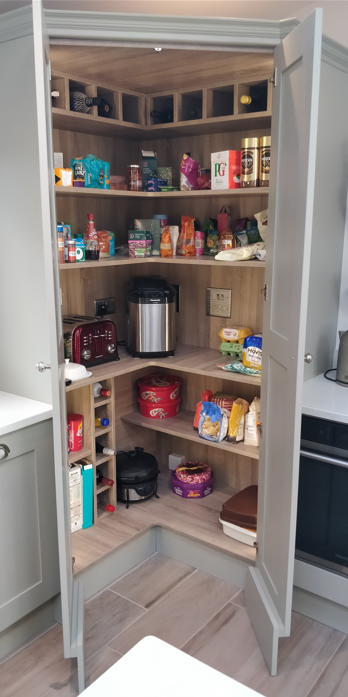 Large Crawley - Solid Ash Bespoke Kitchen Larder with LED Lighting