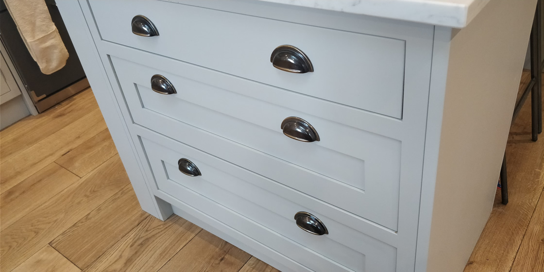Close-up of Classic In-Frame Island Drawers