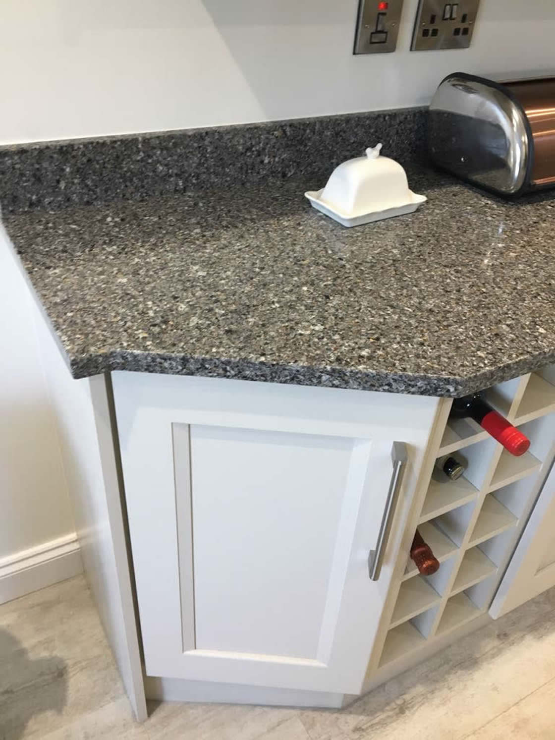 Kitchen Installation in Carshalton showing Samsung Gold Canyon Grey Worktops