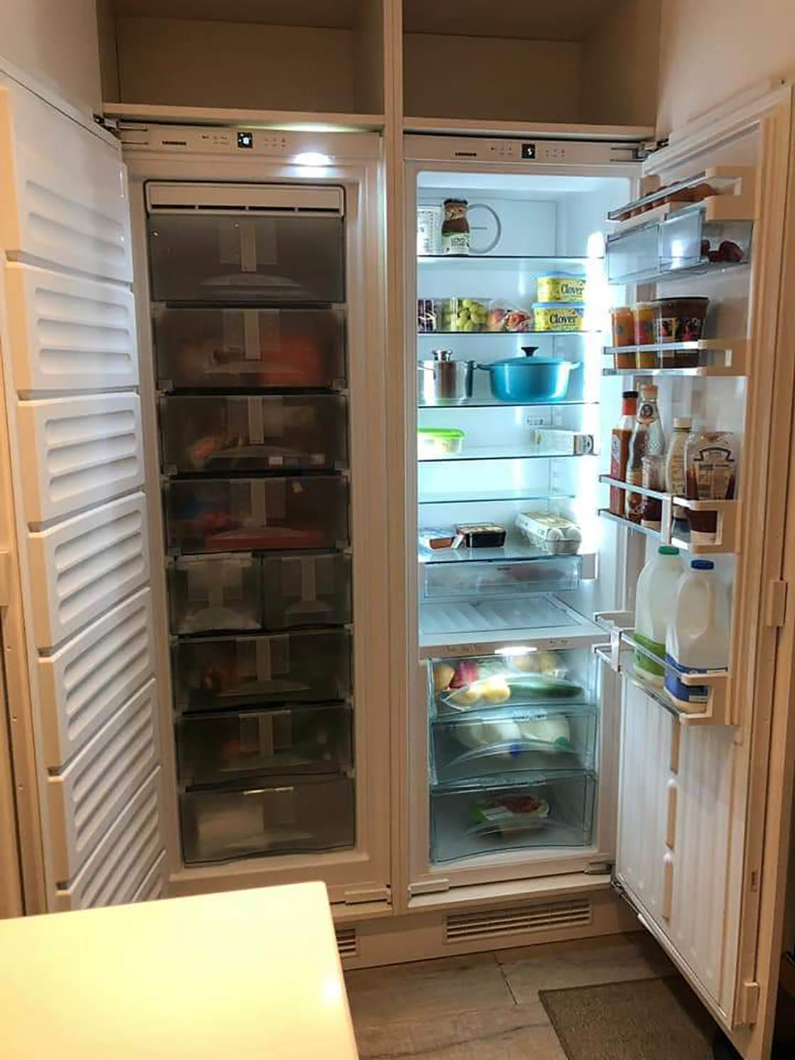 Bespoke In-Frame Kitchen Showing Integrated Fridge and Freezer