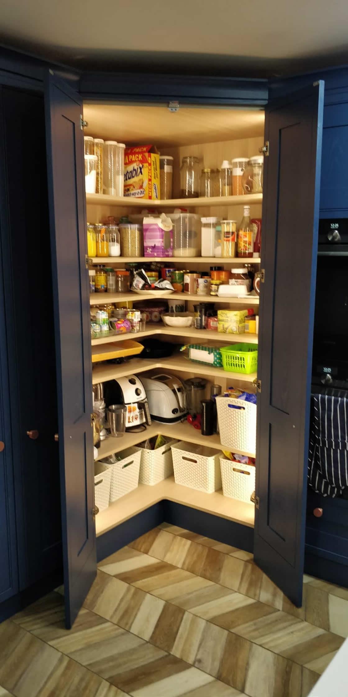 Bespoke Blue Kitchen Showing Open Pantry