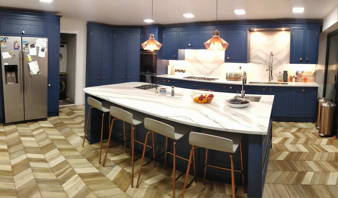 Wide Angle View of Bespoke Blue Kitchen