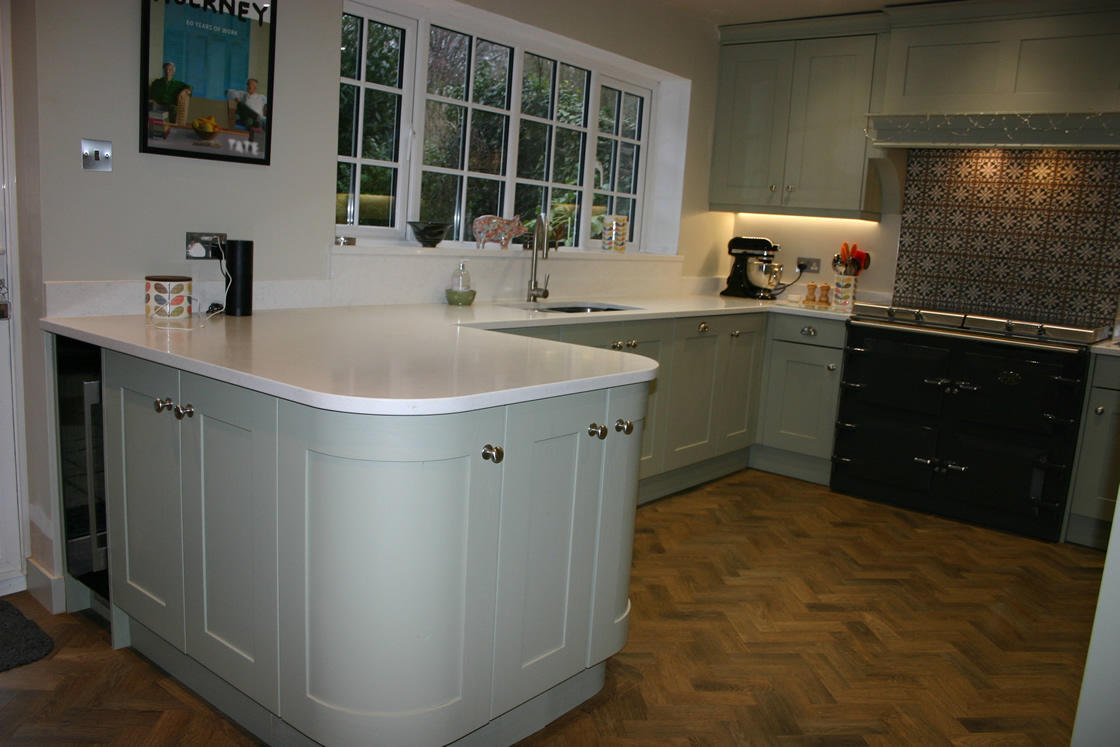 Bespoke Kitchen in Bletchingley Featuring Small Breakfast Bar
