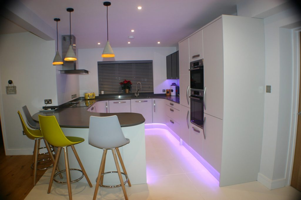 Bespoke White Curved Kitchen in Worcester