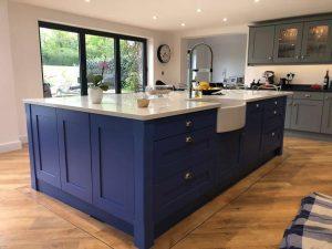 Blue Painted Kitchen in Cobham Surrey