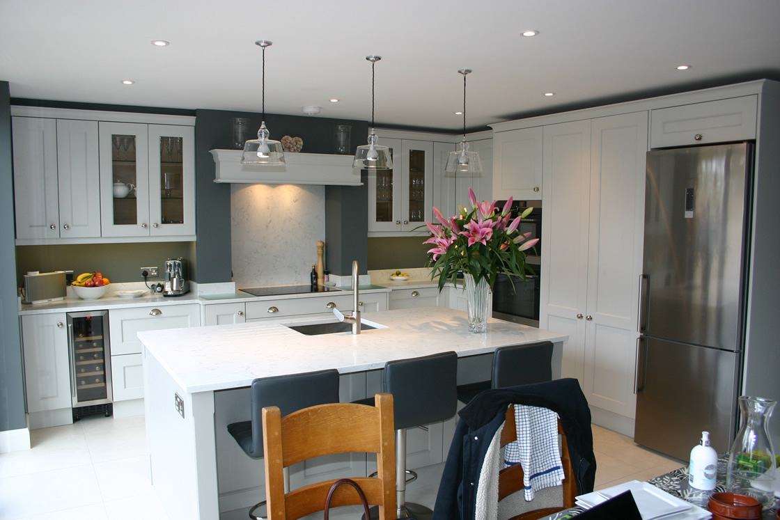 French Grey Kitchen with a Good Mixture of drawer packs and tall wall units