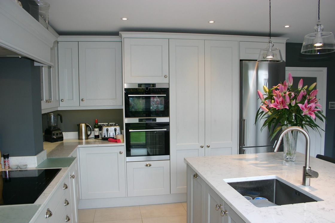 French Grey Shaker Kitchen with Bespoke Tall Units