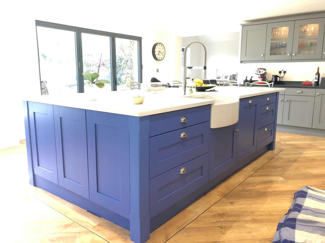 Stunning Painted Blue Kitchen Island in Cobham Surrey