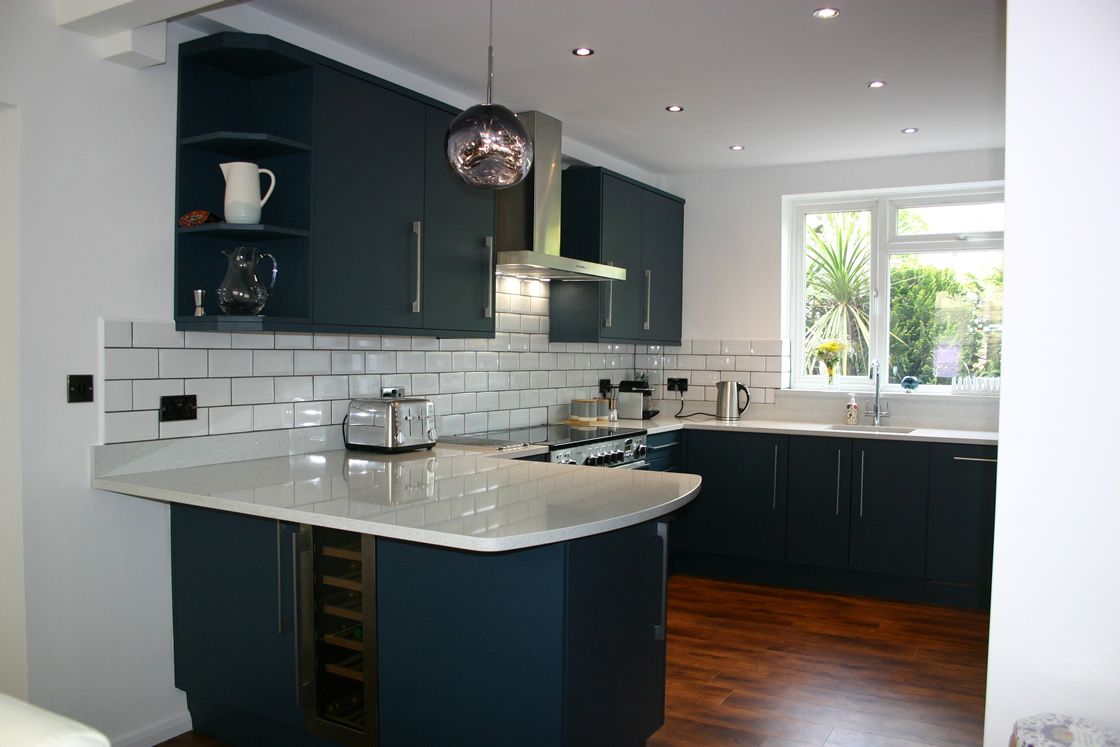 Kitchen Installation in Painted Farrow and Ball Hague Blue