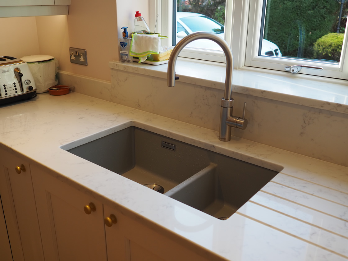 Painted Kitchen Project Showing Integrated Drainer