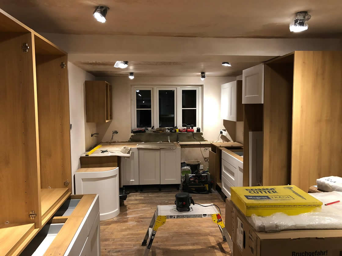 Painted Woodgrain Finish Kitchen During Construction