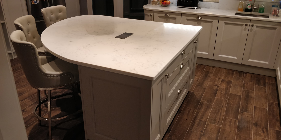 Close up of Curved Island for Kitchen in Surrey