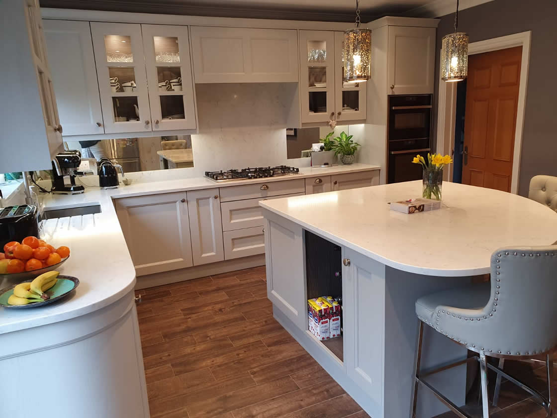 Stunning Painted Kitchen with Curved Island