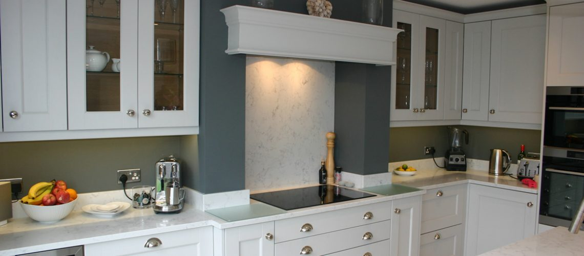 French Grey Kitchen with Bespoke Units around Chimney Breast