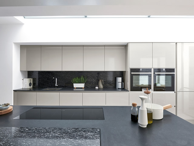 Silver Grey Gloss Handle-less Kitchen