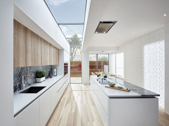 White Gloss Kitchen with Marble Effect Splashback