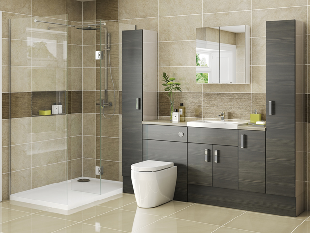 Fitted Bathroom - Avola Grey Brown on Kashmir