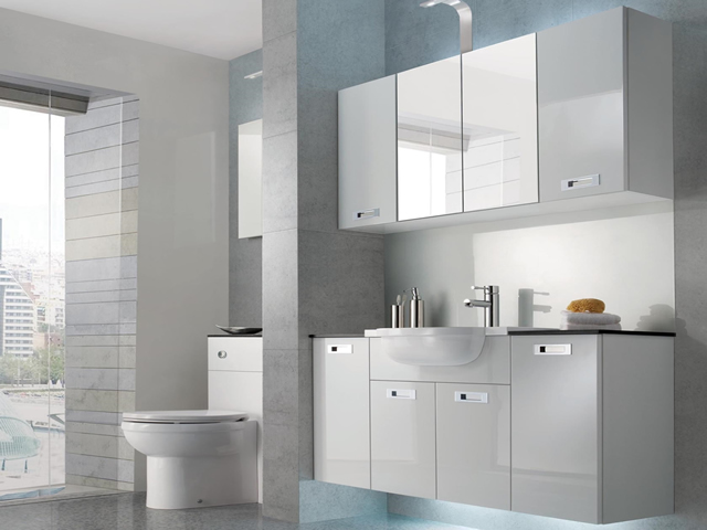 Fitted Bathroom - Image Gloss White with Inset Handle