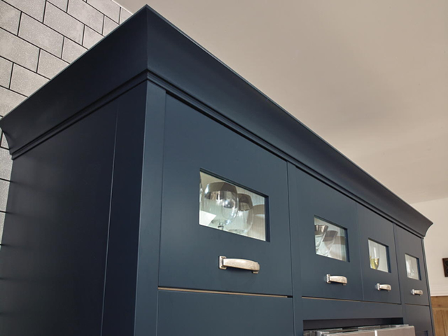 Painted Kitchen Cupboard Detail in Blue Smooth Painted Finish