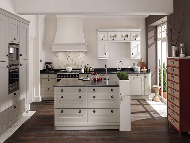 Painted Kitchen Shown in a Porcelain and Stone Smooth Finish