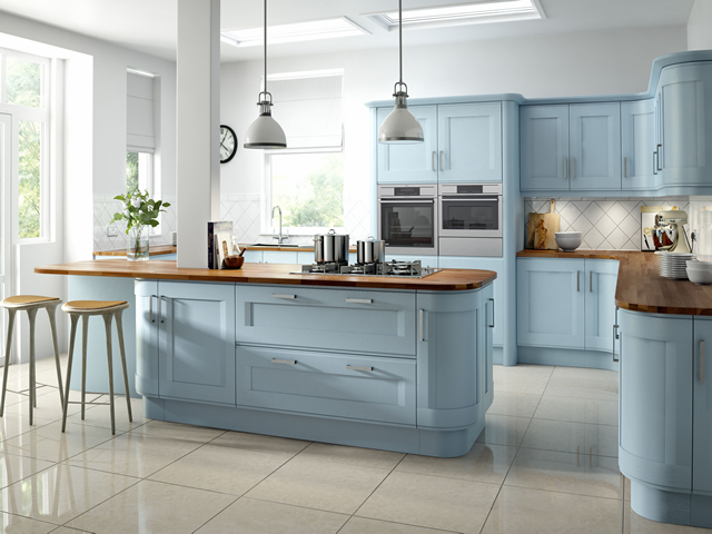 Painted Kitchen in a Blue Woodgrain Finish