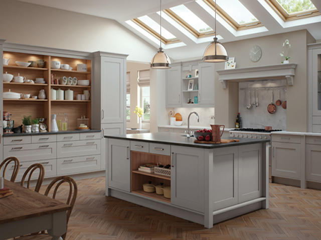 Painted Kitchen in a Grey Woodgrain Finish