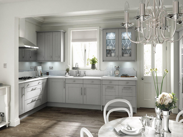 Painted Kitchen in a Partridge Grey Woodgrain Finish