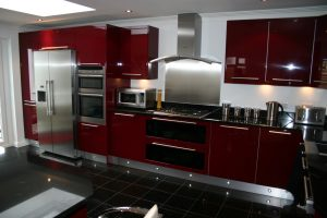 Large Bespoke Kitchen Finished in Red Gloss Lacquer