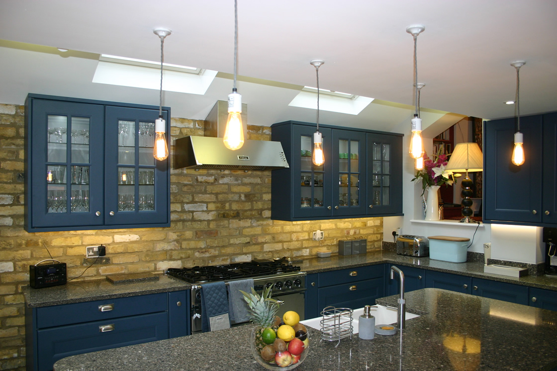 Large Solid Oak Kitchen in Farrow and Ball Stiff Key Blue