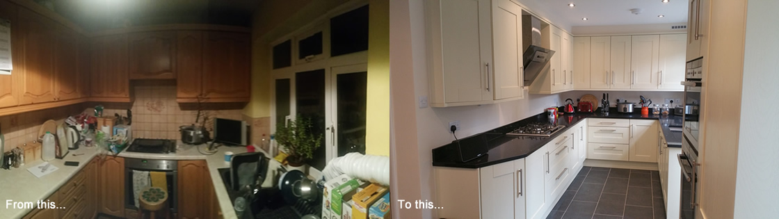Large before and after pictures of kitchen install in Redhill Surrey