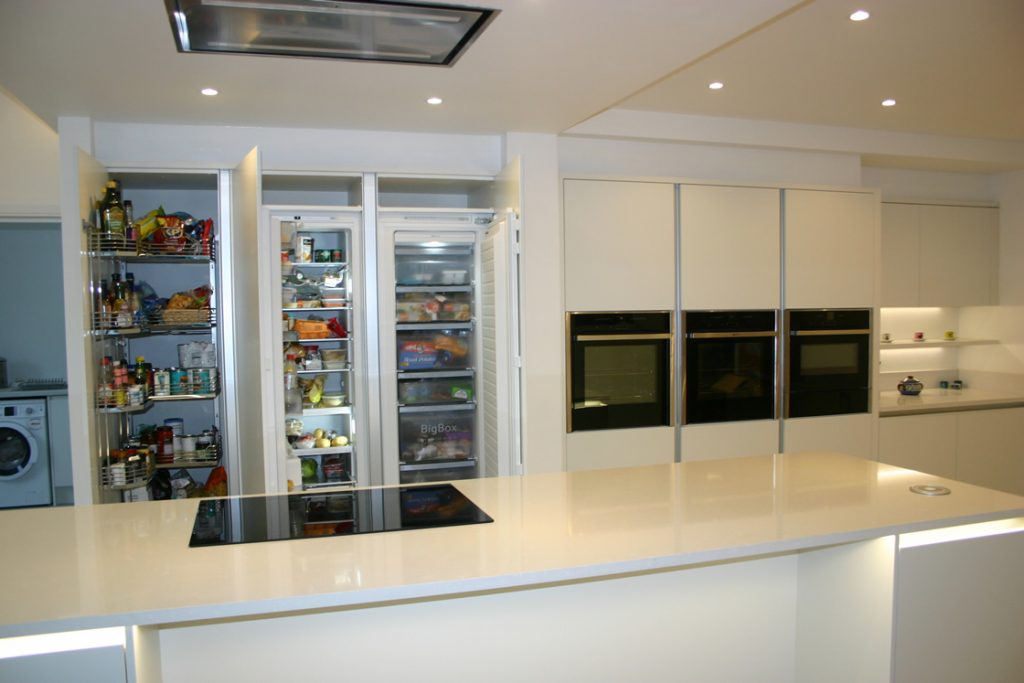 Large Handle-less kitchen larder storage