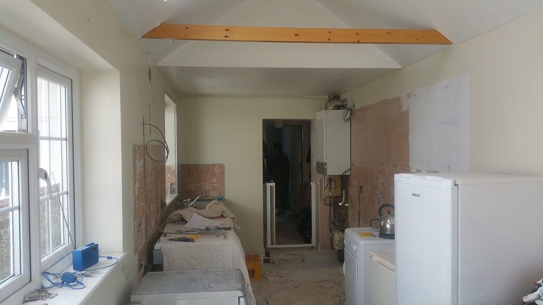 Large Kitchen during rip out