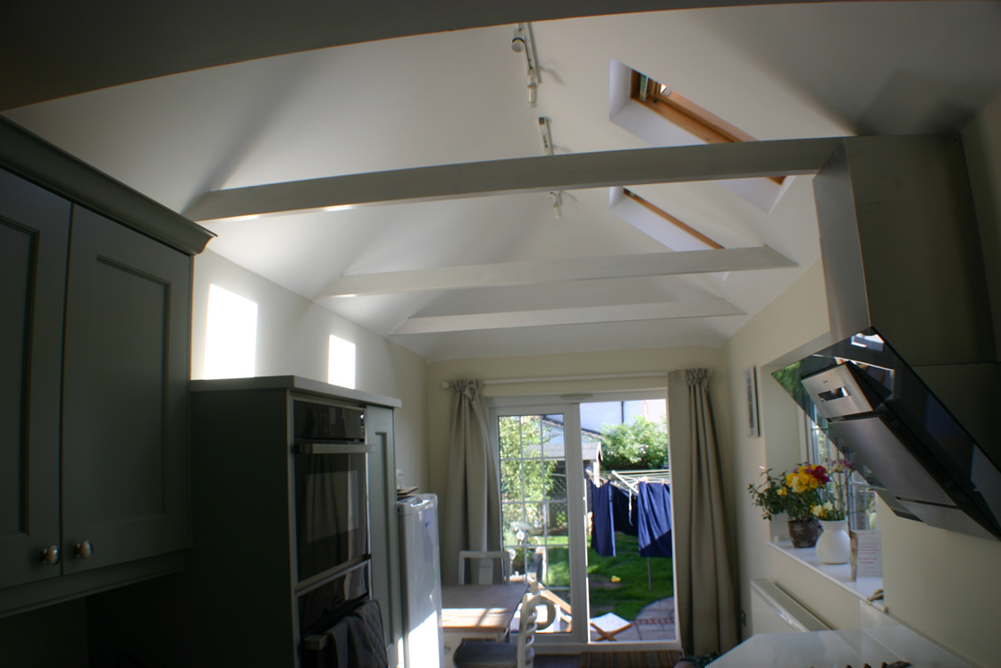 Large New kitchen view to patio doors