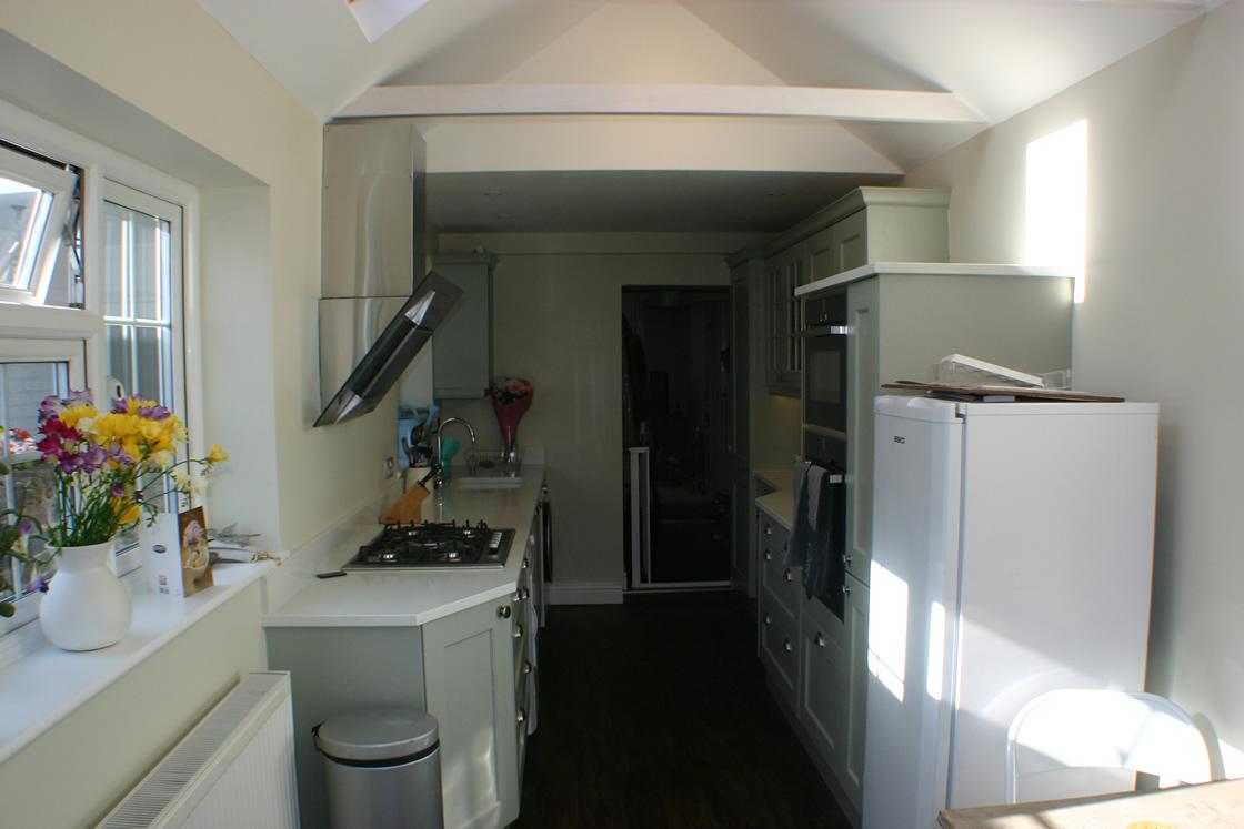 Large Shaker kitchen in sage green