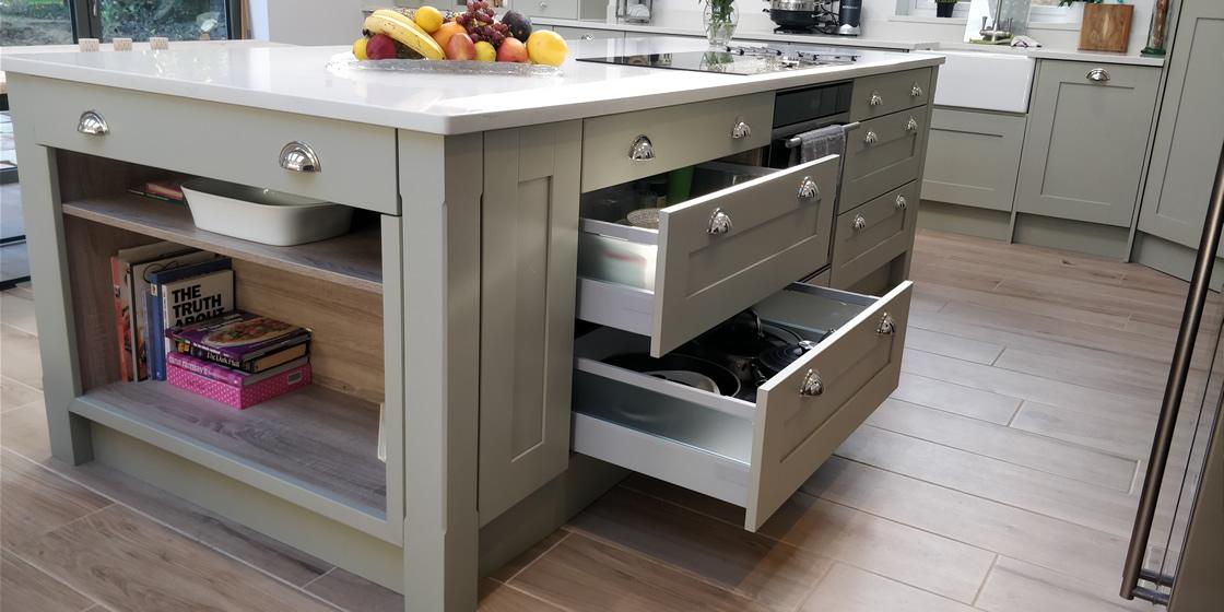 Large Crawley Bespoke Kitchen Island Drawers