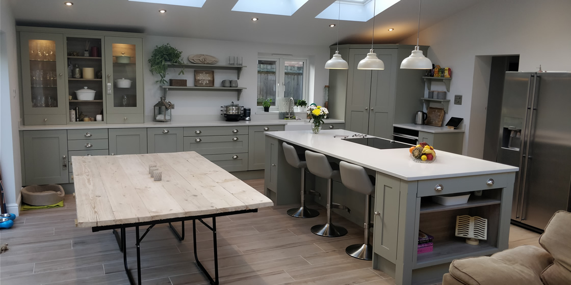 Large Crawley - Solid Ash Bespoke Kitchen in French Grey