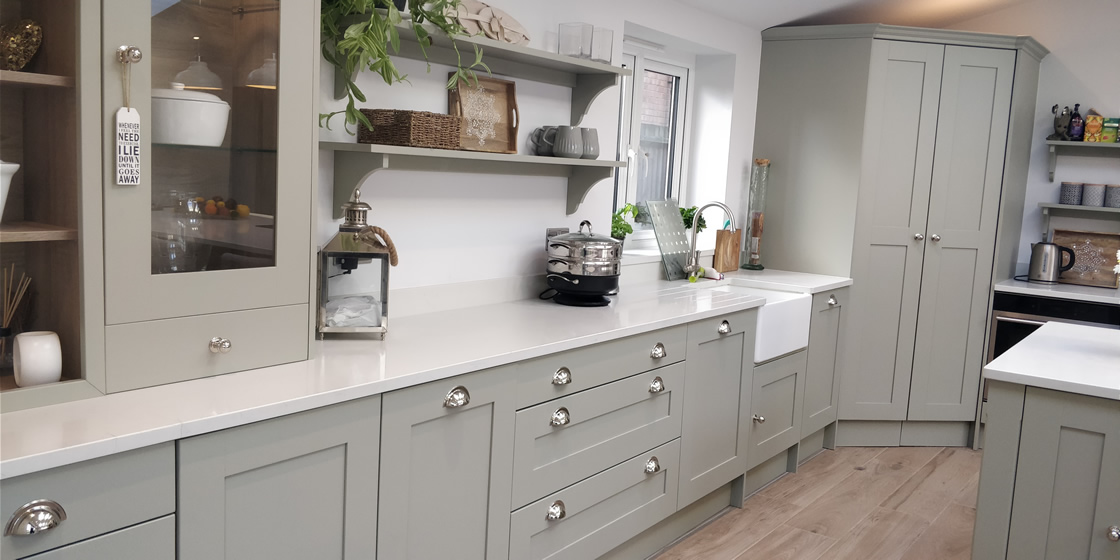 Large Crawley - Solid Ash Bespoke Kitchen with Marble Quartz Worktops