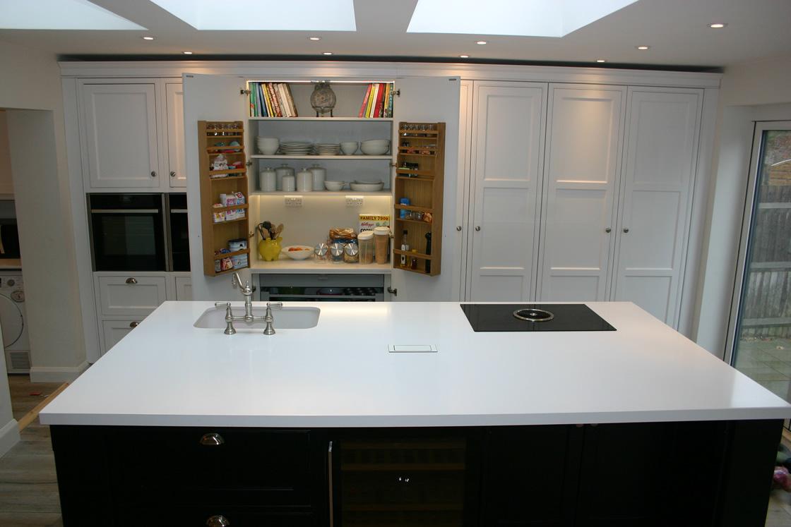 Bespoke Ash Kitchen Design Showing Doors Open