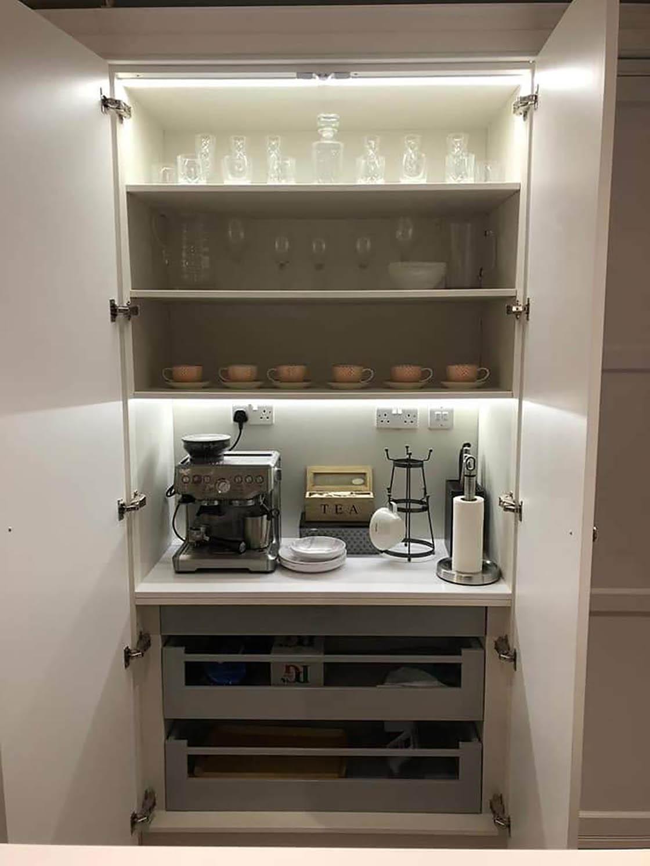 Bespoke In-Frame Kitchen Showing Internal Cupboard