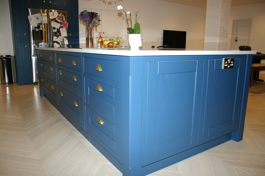 Blue Kitchen with Large Feature Island